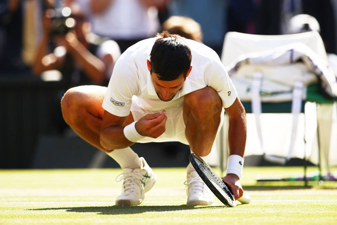 Novak Djokovic picks out a blade of grass and eats it as he celebrates his victory over Kevin Anderson