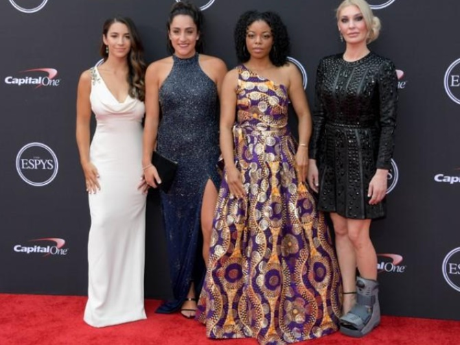 Rediff Sports - Cricket, Indian hockey, Tennis, Football, Chess, Golf - Scores of gymnasts who survived doctor's abuse unite at ESPYs