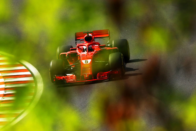 Germany's Sebastian Vettel driving the (5) Scuderia Ferrari SF71H on track during the Formula One Grand Prix of Hungary on Sunday