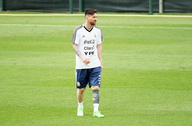 Argentina's Lionel Messi during a training session