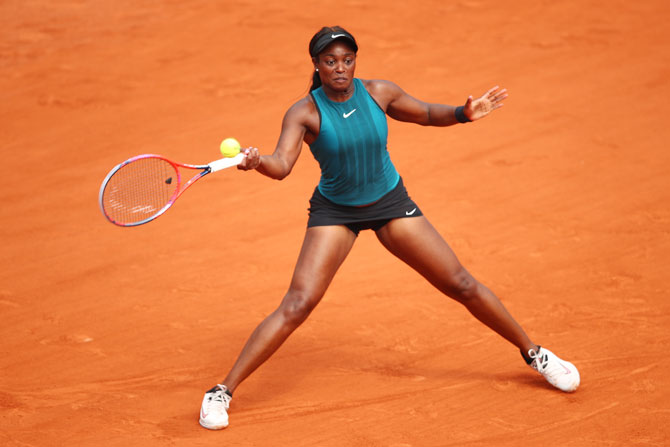 USA's Sloane Stephens plays a forehand return during the final against Romania's Simona Halep