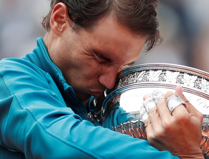 An emotional moment for Rafael Nadal as he wins a historic 11th French Open title, June 10, 2018. Photograph: Benoit Tessier/Reuters