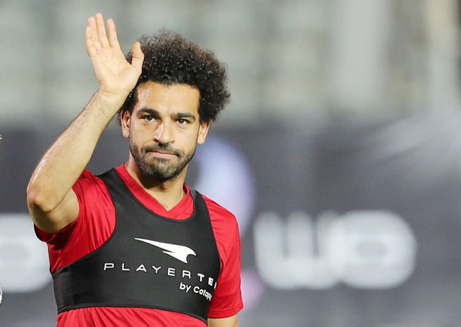 Liverpool's Egyptian player Mo Salah sustained a shoulder injury during the Champions League final against Real Madrid last month
