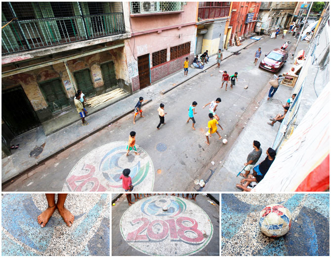 A combination picture shows boys playing soccer (top), and details of feet, a pitch and a football, in a residential area in Kolkata