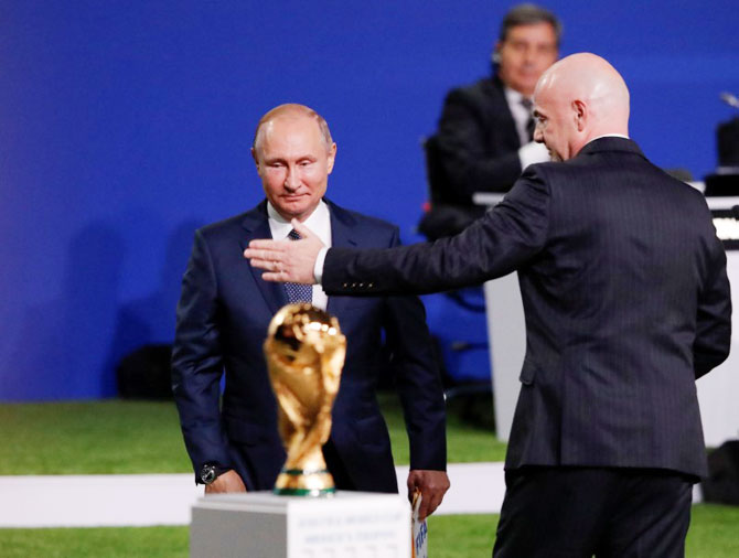 FIFA President Gianni Infantino (right) and Russian President Vladimir Putin attend the 68th FIFA Congress in Moscow, Russia on Wednesday