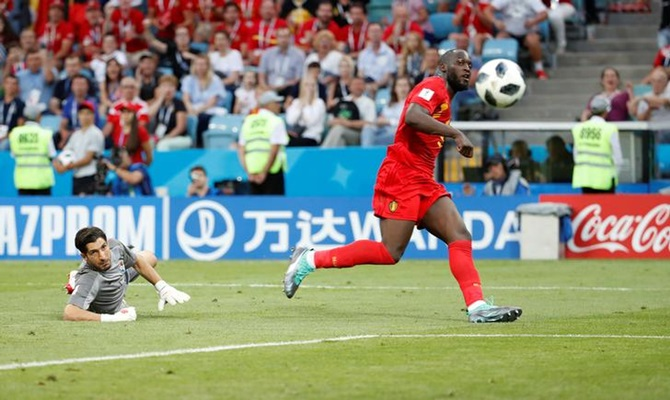 Romelu Lukaku scores Belgium's third goal in the Group G match against Panama at Fisht Stadium, in Sochi, Russia, on Monday