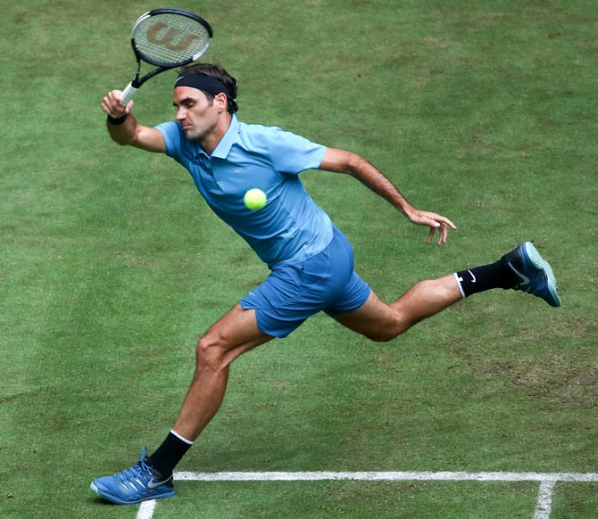 Roger Federer in action during his first round match at Queen's Club, June 20, 2018, against ljaz Bedene. Photograph: Alex Grimm/Getty Images