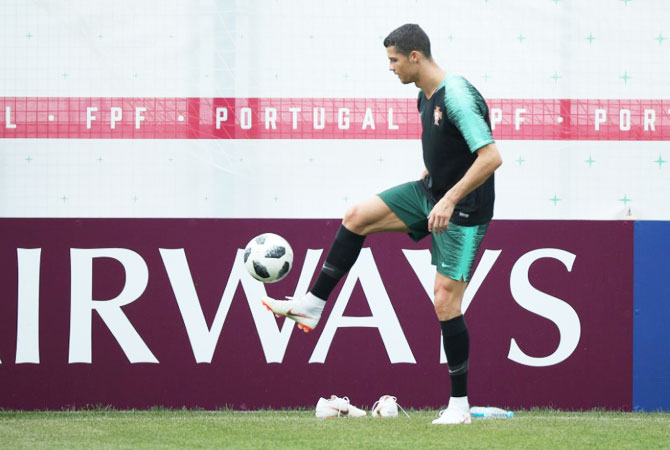 Portugal captain Cristiano Ronaldo at a training session on the eve of their match against Morocco