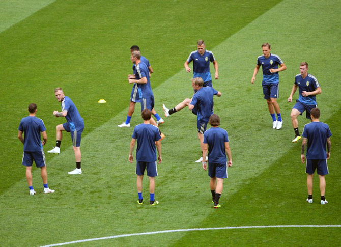 Sweden players at a training session at Fisht Stadium, Sochi, on Friday