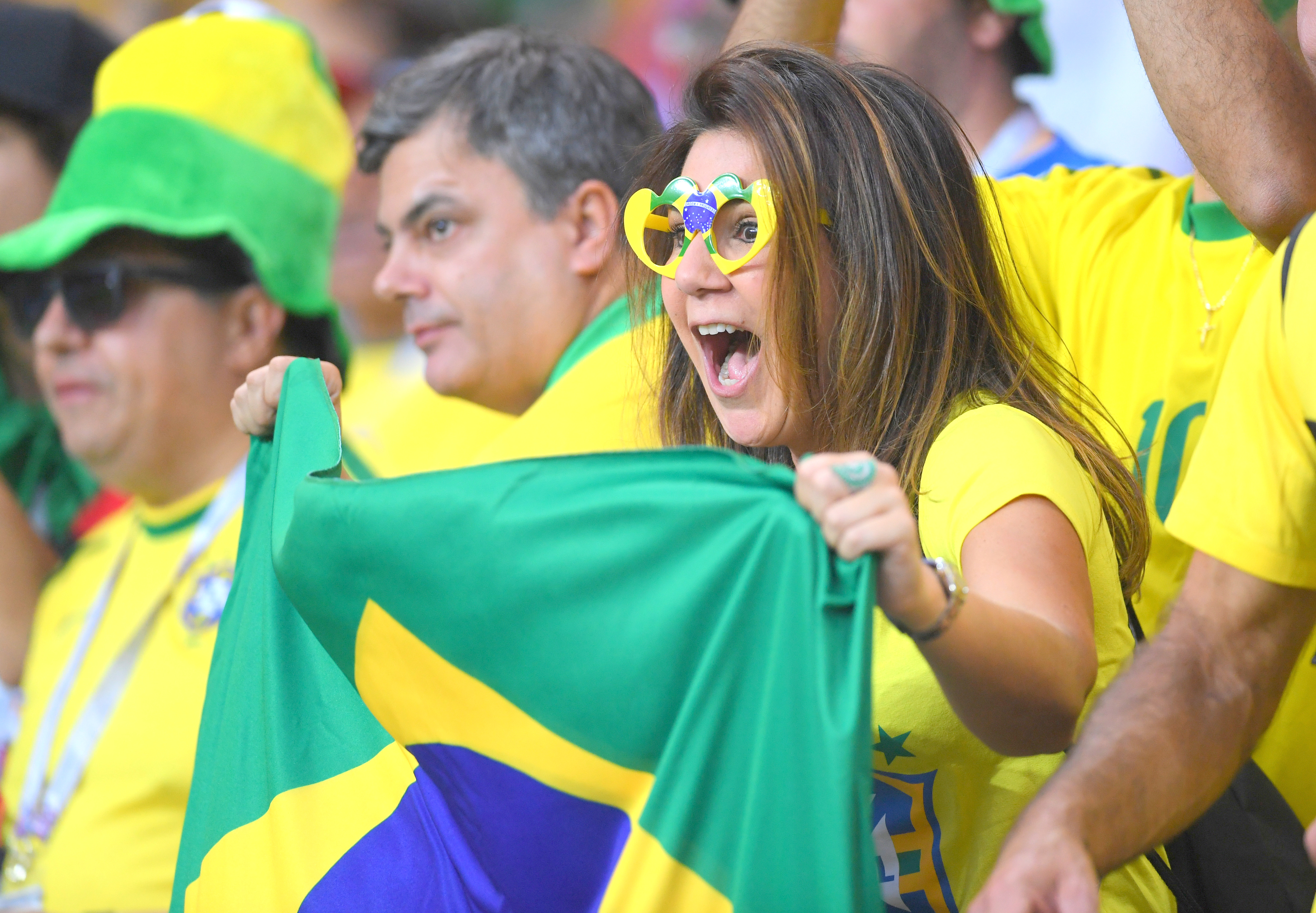 Brazil fans enjoy in the stands