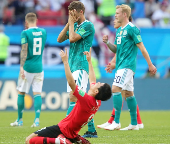 German star Thomas Mueller weeps after Germany was knocked out in the 2018 FIFA World Cup. Photograph: Alexander Hassenstein/Getty Images