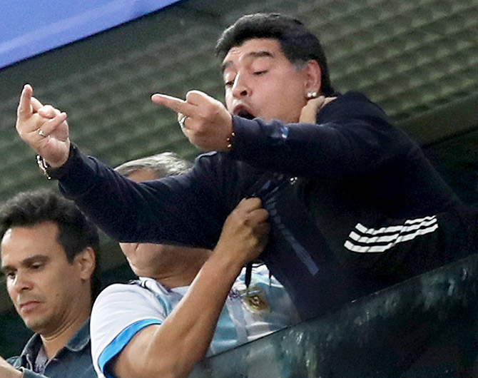 Argentina great Diego Armando Maradona reacts following the 2018 FIFA World Cup Russia group D match between Nigeria and Argentina at Saint Petersburg Stadium in Saint Petersburg, Russia, on Tuesday