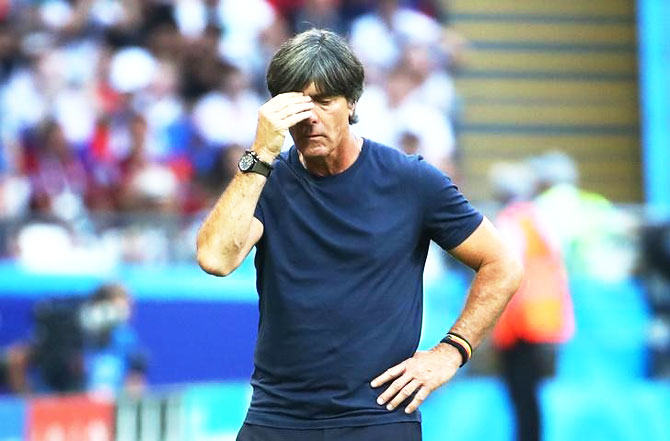 Germany coach Joachim Low looks dejected during the match