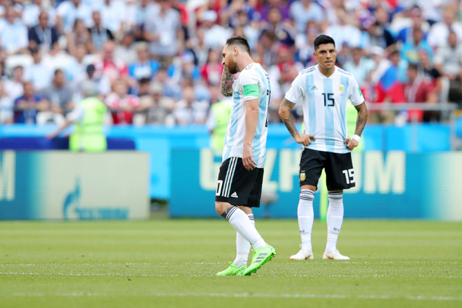 Argentina's Lionel Messi looks dejected following France's first goal