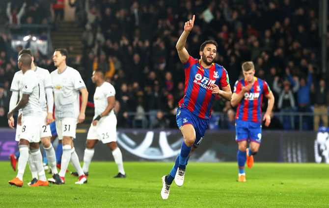 Crystal Palace's Andros Townsend celebrates scoring the first goal