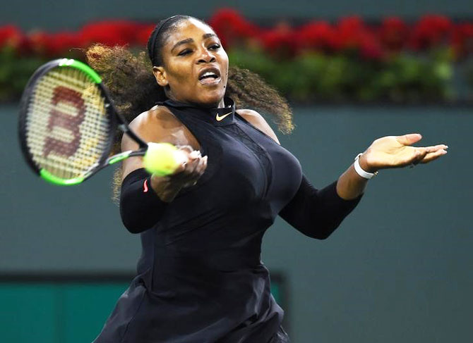 Serena Williams in action during her first round match against Zarina Diyas at the BNP Paribas Open at the Indian Wells Tennis Garden in Indian Wells, California, on Thursday