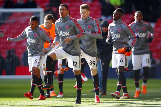 Manchester United players at training
