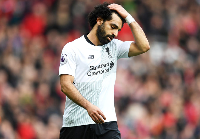 Liverpool's Mohamed Salah cuts a frustrated figure during the match