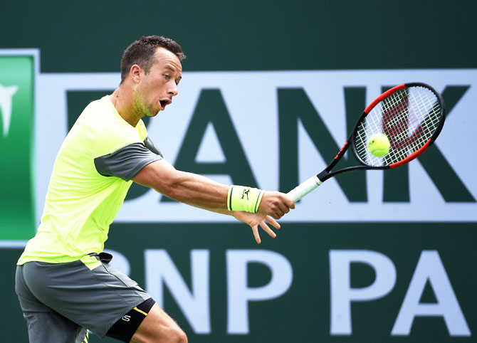 Rediff Sports - Cricket, Indian hockey, Tennis, Football, Chess, Golf - Indian Wells PIX: Kohlschreiber stuns Cilic, Yuki loses; Halep rolls on