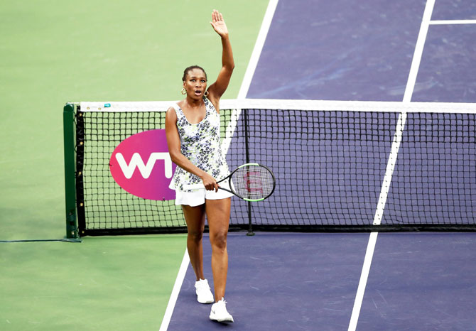 USA's Venus Williams celebrates her win over Latvia's Anastasija Sevastova