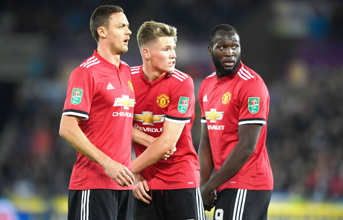 Manchester United's Nemanja Matic (left) and Scott McTominay (centre) came in for praise from Mourinho