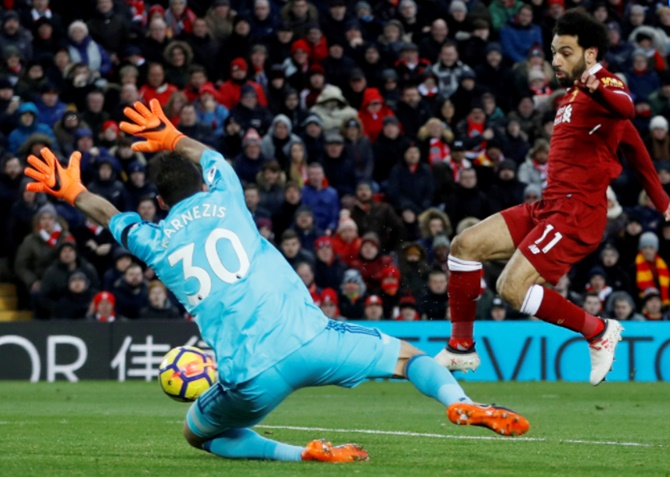 Rediff Sports - Cricket, Indian hockey, Tennis, Football, Chess, Golf - EPL: Record-breaker Salah hits four as Liverpool crush Watford