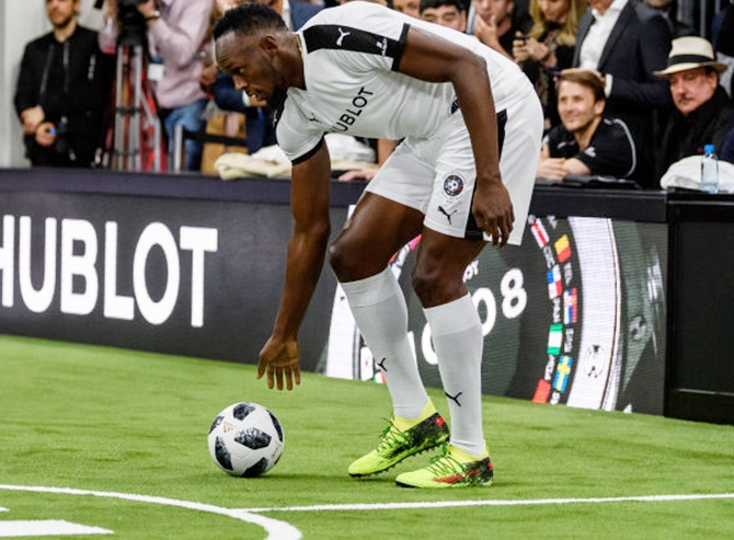 Usain Bolt in action during the Match of Friendship in Basel, Switzerland