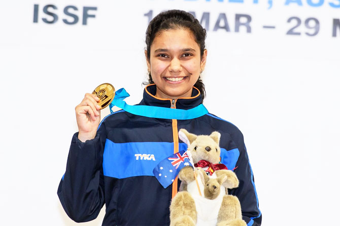 India's Muskan shows off her medal at the ISSF Junior World Cup in Sydney on Wednesday
