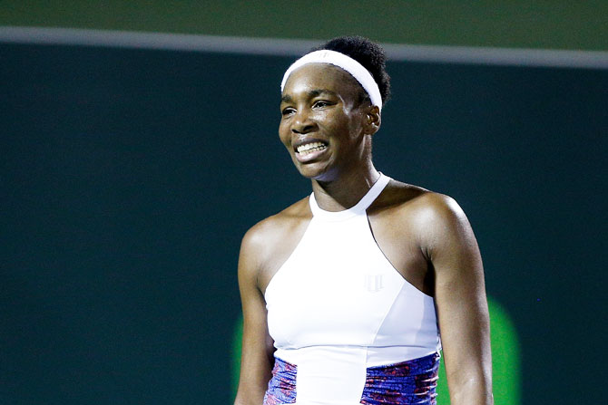 USA's Venus Williams reacts during her quarter-final loss against compatriot Danielle Collins