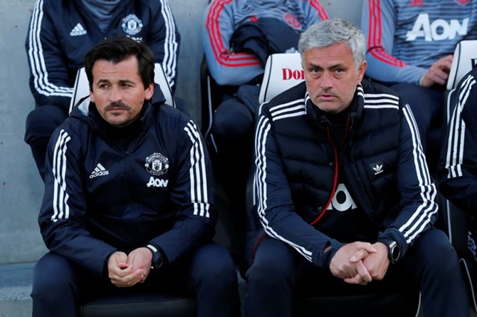 Manchester United manager Jose Mourinho and assistant manager Rui Faria