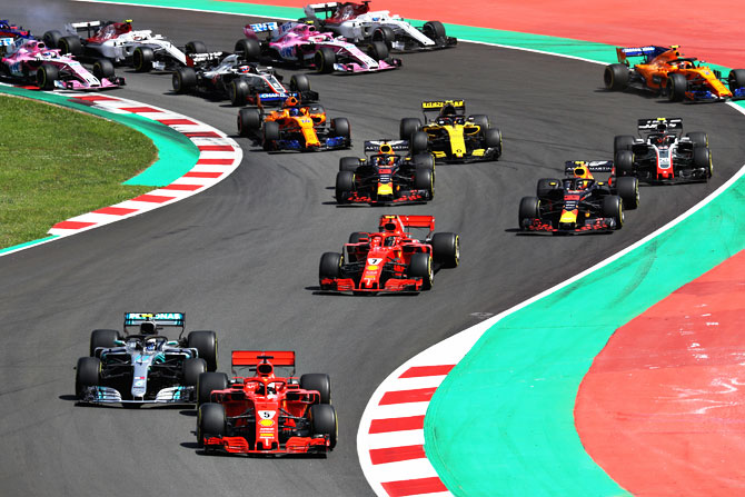 Action from the Spanish Formula One GP on Sunday