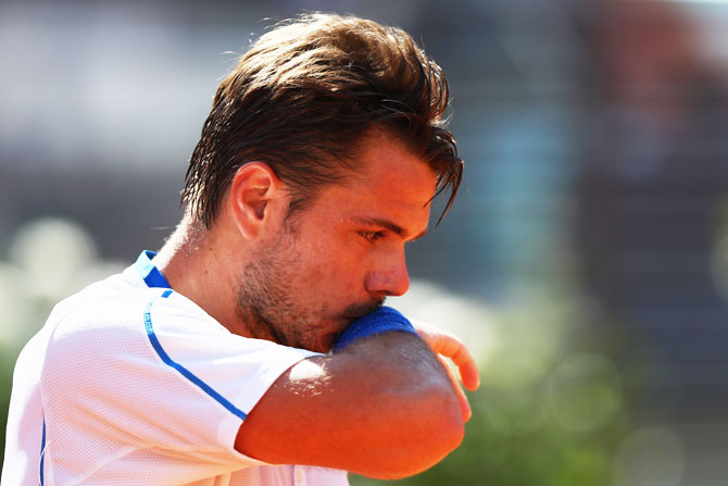 Switzerland's Stan Wawrinka looks on against USA's Steve Johnson during day one of the Internazionali BNL d'Italia 2018 tennis at Foro Italico in Rome on Monday