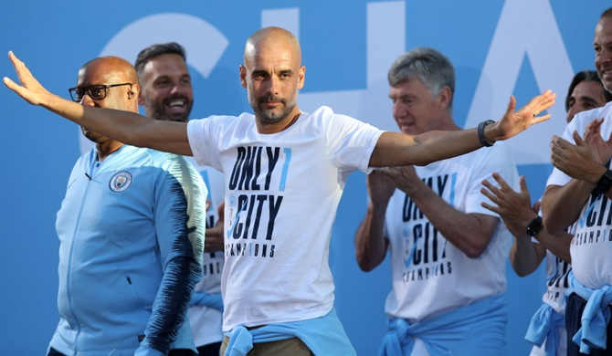 Pep Guardiola will be Manchester City's manager till 2021. Photograph: Lynne Cameron/Getty Images