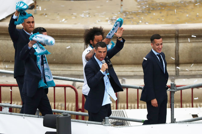 Real Madrid's Cristiano Ronaldo celebrates during victory celebrations