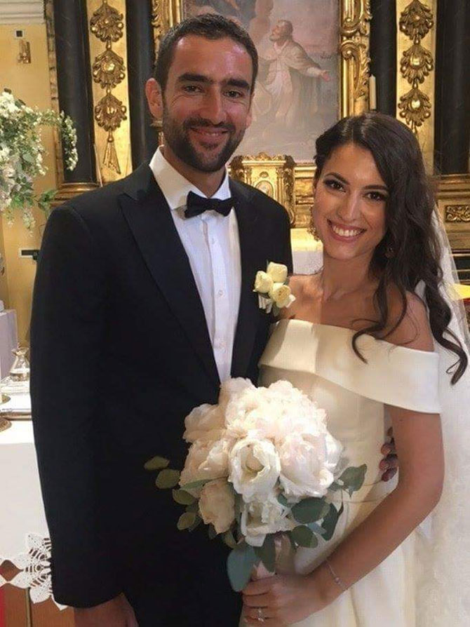 Marin Cilic and his wife Kristina Milkovic after their wedding ceremony
