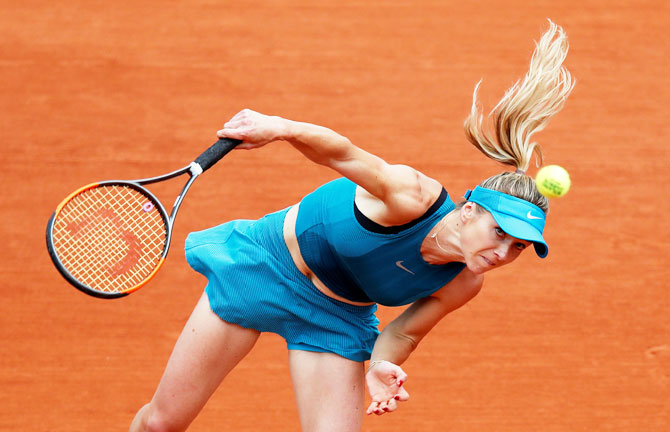 Ukraine's Elina Svitolina in action during her second round match against Slovakia's Viktoria Kuzmova