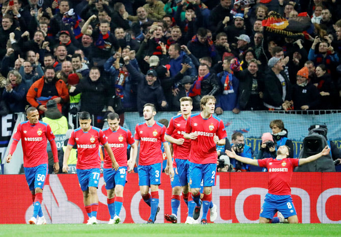 CSKA Moscow players celebrate their goal against Real Madrid
