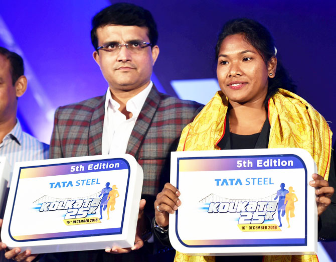 Former Indian captain and Cricket Association of Bengal (CAB) President Sourav Ganguly and Asian Gold medallist heptathlete Swapna Barman launch the 5th edition 25K in Kolkata on Thursday