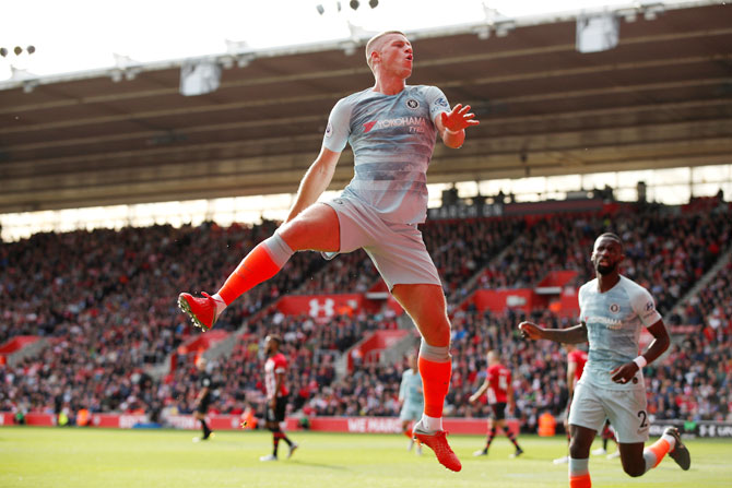 Chelsea's Ross Barkley celebrates scoring their second goal against Southampton at St Mary's Stadium in Southampton on Sunday