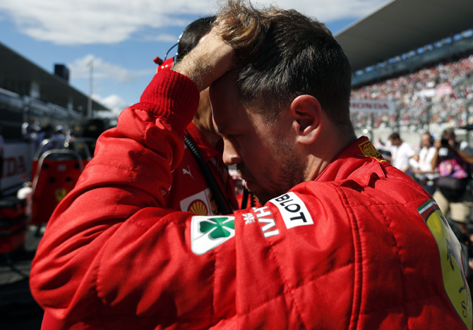Rediff Sports - Cricket, Indian hockey, Tennis, Football, Chess, Golf - Vettel blames Verstappen for costly collision