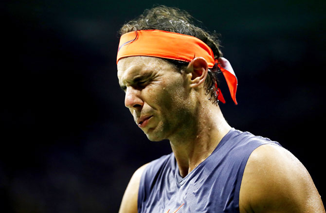 Rediff Sports - Cricket, Indian hockey, Tennis, Football, Chess, Golf - PHOTOS: The many expressions of Nadal, Thiem during their thrilling US Open quarters