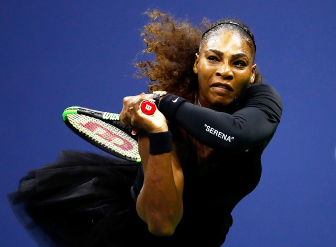 Serena Williams returns the ball during the women's singles quarter-final match against Karolina Pliskova