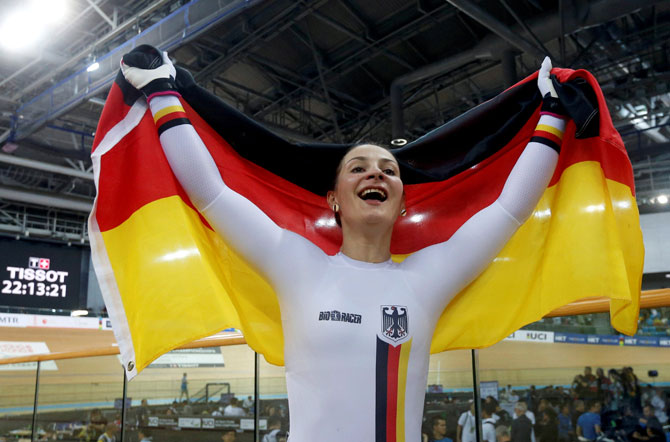 Germany's Kristina Vogel celebrates after winning gold in the UCI Track World Championships, Women's Sprint, final in Hong Kong in April last year.