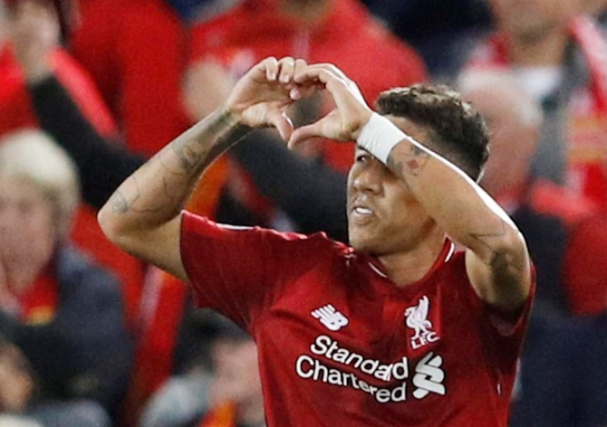 Rediff Sports - Cricket, Indian hockey, Tennis, Football, Chess, Golf - Champions League PIX: Firmino strike gives Liverpool win over PSG