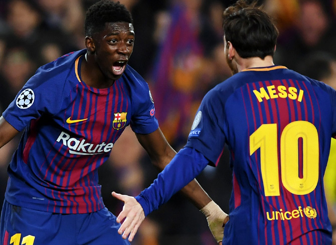 Rediff Sports - Cricket, Indian hockey, Tennis, Football, Chess, Golf - Dembele, Messi partnership fuelling Barcelona goal rush