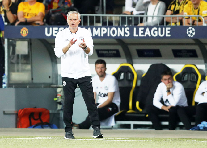 Rediff Sports - Cricket, Indian hockey, Tennis, Football, Chess, Golf - Champions League: Mourinho unhappy with Young Boys' artificial pitch