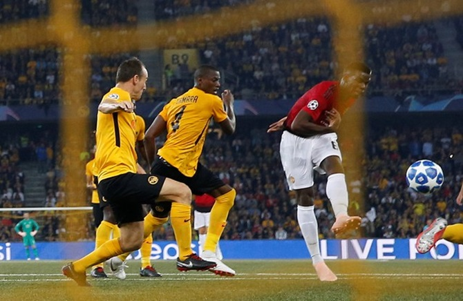Rediff Sports - Cricket, Indian hockey, Tennis, Football, Chess, Golf - Champions League PIX: Pogba steers Manchester Utd past Young Boys