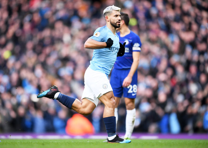 Rediff Sports - Cricket, Indian hockey, Tennis, Football, Chess, Golf - EPL PHOTOS: Aguero equals Shearer record as City thrash Chelsea