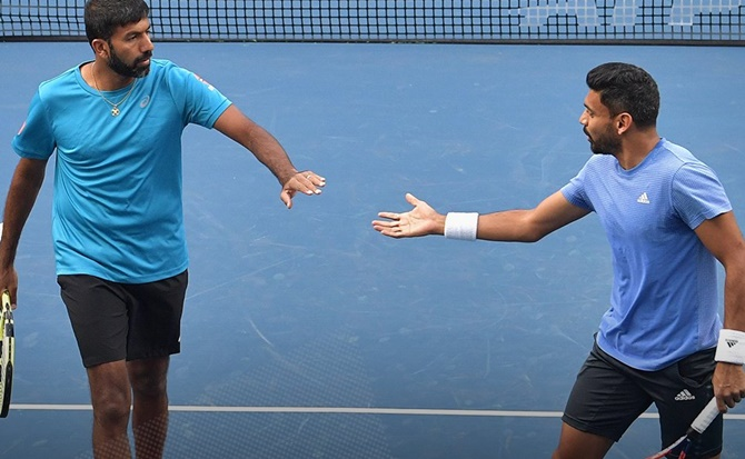Rediff Sports - Cricket, Indian hockey, Tennis, Football, Chess, Golf - Bopanna serves big in Tata Open title win with Sharan