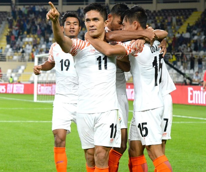 Rediff Sports - Cricket, Indian hockey, Tennis, Football, Chess, Golf - Chhetri remains modest after going past Messi